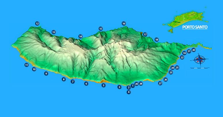 Harta plaje si piscine Madeira